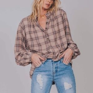 [Free People] Northern Bound Plaid Popover Blouse